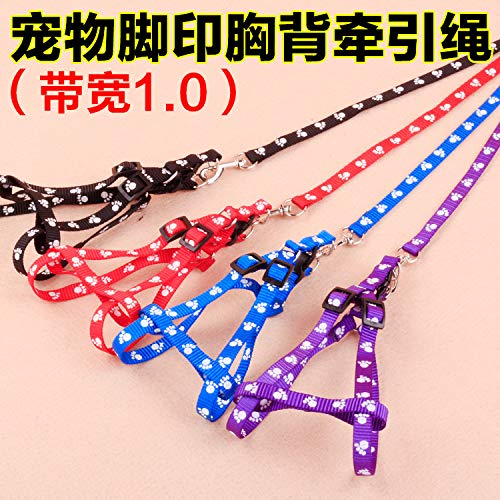 leash,dog leash,cat leash.Chest and back traction rope _ pet feet Indonesian dragon chest back traction rope 1.0cm sturdy double-layer footprint dog, (red, blue, black and purple) random, 1.0120cm