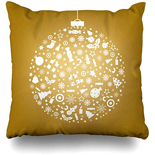 - Throw Pillow Cover Ornamental Red Ball Sphere Holidays Candle Year Celebrate Celebration Christmas Congratulation Design Zippered Pillowcase Square Size 18 x 18 Inches Home Decor Cushion Case