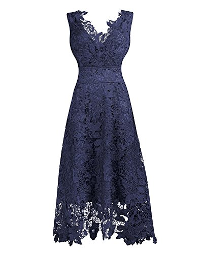 KIMILILY Women's V Neck Navy Blue Floral Lace Cocktail Evening Midi Dress(N,XL)