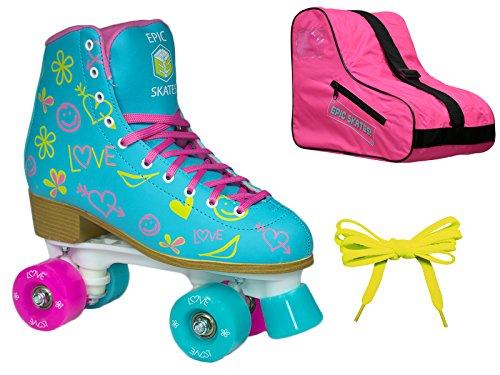 Epic Splash High-Top Indoor / Outdoor Quad Roller Skate 3 Pc. Bundle - Children's (Youth 3) by Epic Skates