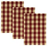 Buffalo Check 100% Cotton Kitchen Towels, Set of 3 (Red)