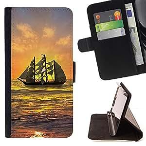 BullDog Case - FOR/Apple Iphone 5C / - / SHIP SAILING SUNSET SEA OCEAN SKY WAVES /- Monedero de cuero de la PU Llevar cubierta de la caja con el ID Credit Card Slots Flip funda de cuer