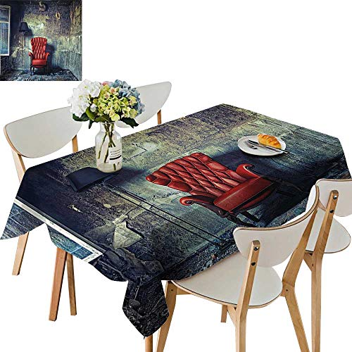 UHOO2018 Square/Rectangle Polyester Table Cloth Luxury Armchair Floor Lamp in Interior Damaged Messy Abandoned House Windows Easy Care Spillproof,54 x102inch