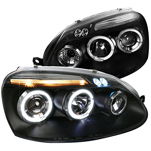 Spec-D Tuning LHP-GLF05JM-TM Volkswagen Golf Rabbit Jetta Black Dual Halo Led Projector Head Lights - Golf Dual Halo Projector Headlights