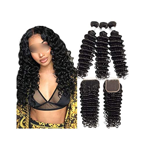Welcome the good future Brazilian Deep Wave Bundles With Closure Double Weft Remy Human Hair Weave 3 Bundles With Closure Natural Black,18 20 20 & Closure16,Natural Color,Free Part