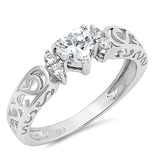 Oxford Diamond Co Sterling Silver Heart Gemstone Promise Engagement Love Antique Filigree Ring sizes 5-10 ()