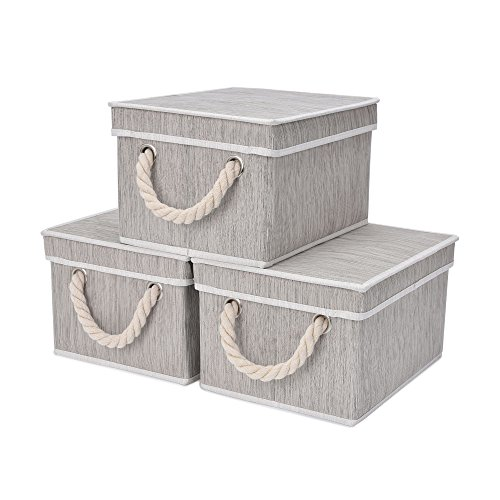 StorageWorks Storage Bins for Shelves, Storage Baskets with Lid and Cotton Rope Handles, Mixing of Gray, Brown & Beige, Bamboo Fabric, Medium, 3-Pack ()