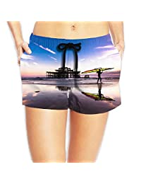 Beach Board Shorts High Waist Swim Trunks With Pockets For Womans White