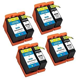 ESTON 8 Pack (4 Black & 4 Color) Compatible Hi-Yield Ink Cartridge for Dell Series 21 22 23 24 P513w P713w V313 V715w v515w