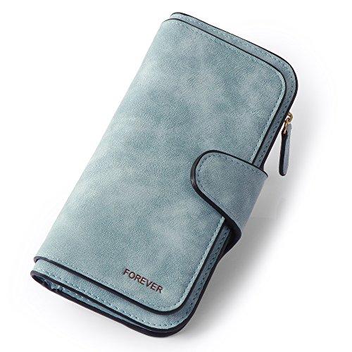 Wallets For Women Fashion Leather Clutch Purse Long Ladies Credit Card Holder Organizer Women Wallet Female Purse (Blue)
