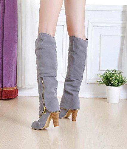Pure High Heel Dress Knight Women Eu 8cm 32 Charming 43 Red Zipper Color Chunkly Toe Size Boots Knee Round Boots Boot f4gq11P