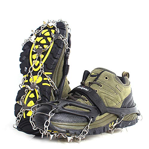 Unigear Ice Cleats, Snow Traction Cleats Crampons for Shoes and Boots with 18 Stainless Steel Spikes for Walking, Hiking, Fishing and Climbing (Black, Large)