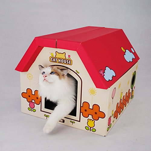 Laugh Cat Oversized Cat House Cat Scratching Station Lounger Post Curious Pet Cube Corrugated Box