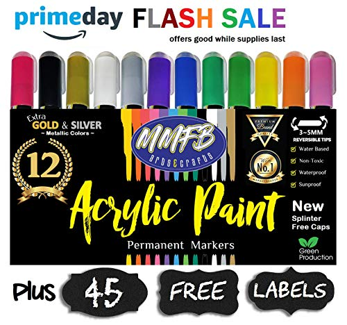 Premium Acrylic Paint Markers 12 Pack w/ 45 Chalkboard Labels, Not Toxic Permanent Color On All Surfaces, Metallic Gold & Silver, Reversible Bullet Chisel Tip w/Splinter Free Cap (Bold 5MM)