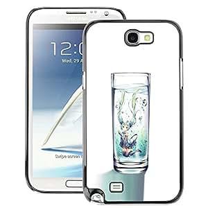 A-type Arte & diseño plástico duro Fundas Cover Cubre Hard Case Cover para Samsung Note 2 N7100 (Glass Water Clean Diet Minimalist White)