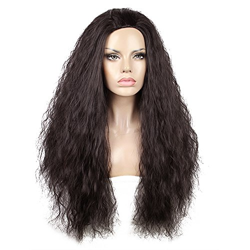 Touch Of Romance Halloween Costumes (Anogol Hair Cap+Halloween Cosplay Wig Costume Long Afro Kinky Curly Dark Brown Women's Wigs)