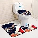 MatureGirl Bathroom Rug Mat - Bath Mat Carpet - Non-Slip Christmas Fancy Santa Bath Mat Bathroom Kitchen Carpet Doormats, Toilet Seat Cover and Rug - Christmas Carpet Mats (B)