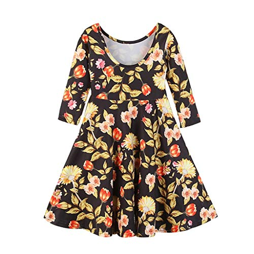 Jchen(TM) Kids Baby Little Girls Long Sleeve Floral Print Party Princess Casual Spring Playwear Backless Dress for 1-6 Y (Age:4-5 Years, Multicolor) -