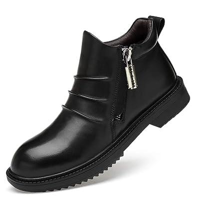 691dcd1fa49b1f ailishabroy Knöchelreißverschluss für Stiefel Herren Klassische Schwarze  Lederhalbschuhe Hohe Schuhe für formelle Gelegenheitsarbeit (Schwarz-