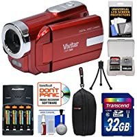 Vivitar DVR-508 HD Digital Video Camera Camcorder (Red) with 32GB Card + Batteries & Charger + Case + Tripod + Kit