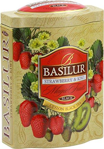 Ceylon Teas Strawberry Tea - Basilur | Strawberry & Kiwi Tea | With Real Bits of Fruits | Premium Ceylon Black Loose Tea | 100g / 3.52 oz.