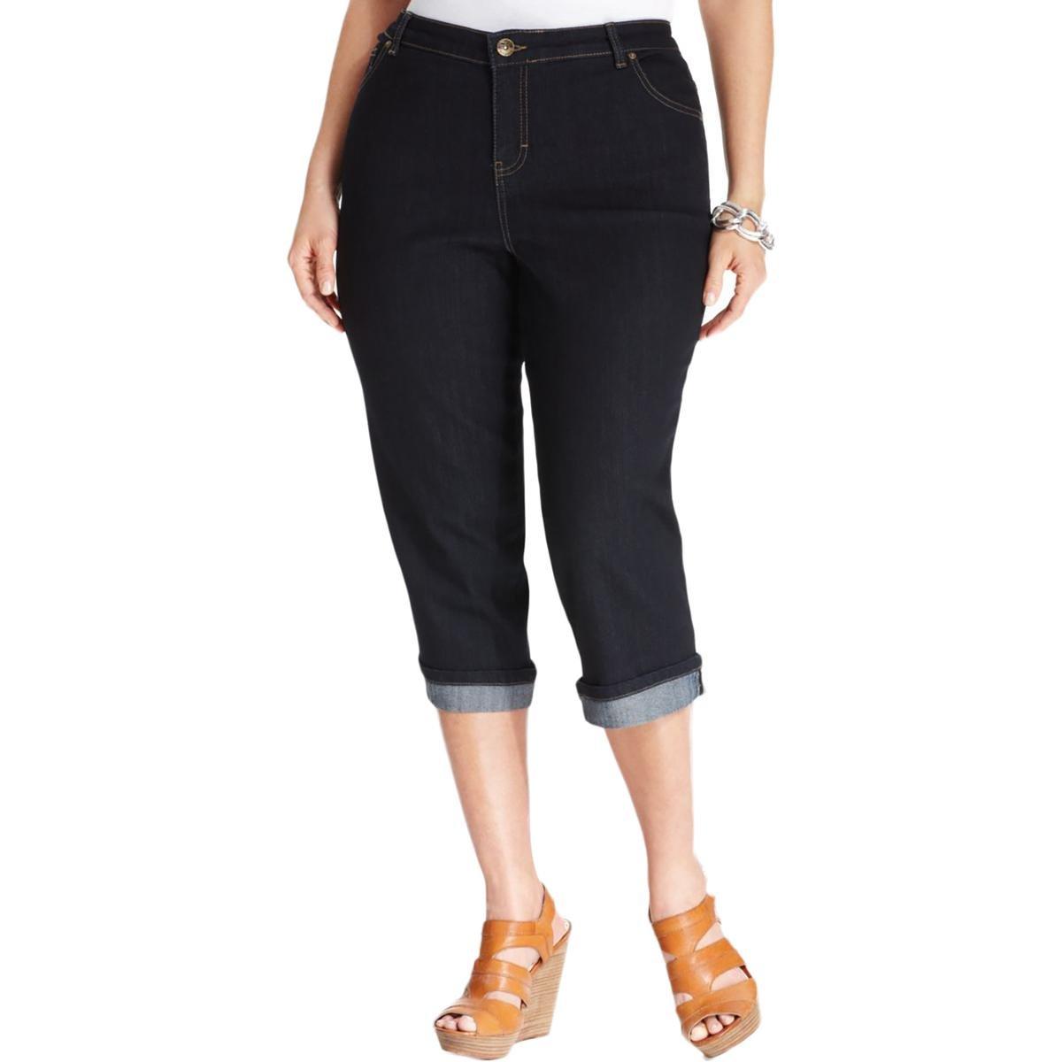 Style & Co. Womens Plus Mid-Rise Dark Wash Capri Jeans Blue 16W
