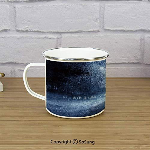 Halloween Enamel Coffee Mug,Ghostly Haunted Forest Image Bleak Gloomy Misty Nature Landscape Decorative,11 oz Practical Cup for Kitchen, Campfire, Home, TravelWhite Black Light Blue -