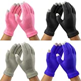 Nidicus Unisex Warm Touch Screen Winter Knit Gloves for Smartphones Multicolor 4 Packs