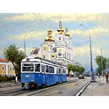 999Store Framed Printed Old City Tram Canvas Painting (18x24 Inches)