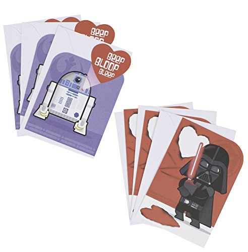 Hallmark Star Wars Valentines Day Cards Assortment for Kids, Darth Vader and R2-D2 (6 Valentine's Day Cards with -