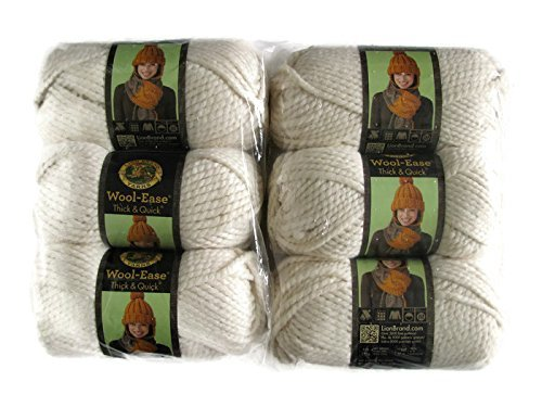 (Lion Brand Yarn Wool-Ease Thick and Quick Yarn, (6-Pack), Fisherman 640-099 )