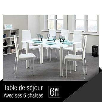 BELAIR Ensemble Table A Manger En Verre 6 Personnes 140x80 Cm Chaises Simili