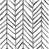 HORLLM 17.71 in X 19.66ft Modern Stripe Peel and Stick Wallpaper Removable Self-Adhesive Herringbone Black White Wallpaper De