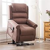 Irene House Modern Transitional Power Lift Recliner Chair Soft Linen Fabric(Brown)