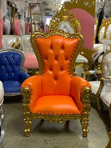 Tiffany Mini Kids Birthday Throne Chair for Children - Prince/Princess Throne Chair for Kids - Party Chair Rentals, Children Photo Shoots, Kids Accent Chair - Gold Finish - 37