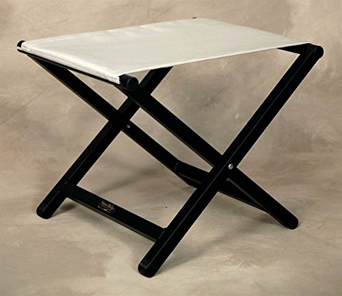 (Sutton Bridge Folding Director Style Footstool w Aluminum Frame in Silver)