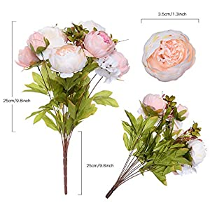 Artiflr 2 Pack Artificial Peony Wedding Flower Bush Bouquet Vintage Peony Silk Flowers for Home Kitchen Wreath Wedding Centerpiece Decor,Light Pink 4