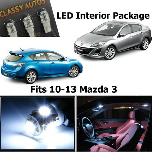 Classy Autos White LED Lights Interior Package Deal Mazda 3 (5 Pieces) (Mazda 3 Interior Accessories compare prices)