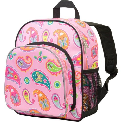 Wildkin 12 Inch Backpack, Includes Insulated, Food-Safe Front Pocket and Side Mesh Water Bottle Pocket, Perfect for Preschool, Daycare, and Day Trips, Olive Kids Design – Paisley