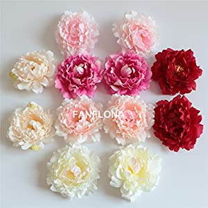 FANFLONA Wholesale Silk Flowers Artificial Peony Flower Heads 100 Bulk for Wedding Backdrop Centerpieces Cake Topper Decor 119
