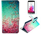 LG G3 Case, Plum Blossom PU Leather Flip Wallet Credit ID Card Slot Holder Phone Case With Stand --Retail Package W Screen Protector -- Sky Blue