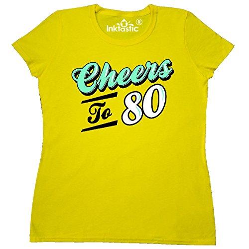 Birthday Yellow T-shirt (Inktastic - Cheers to 80 Birthday Women's T-Shirt X-Large daisy)