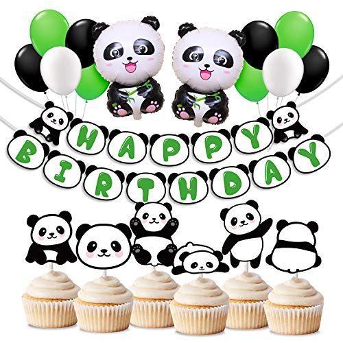 Panda Birthday Party Supplies Panda Birthday Banner Balloons for Kids Panda Bear Birthday Decorations ()