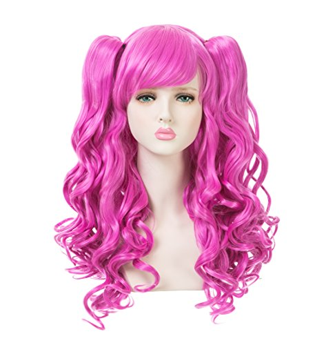 EDENKISS Women Cosplay lolita Clip on Two Ponytails Long Hair Replacement Full Head Wigs (Fushia MC137A -
