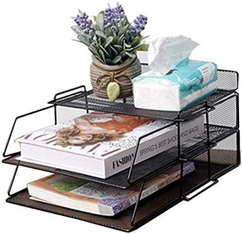 Soul hill Büroorganisation, File Organizer Box, Schwarz 2-Schicht-Schreibtisch-Organisator, Nicht leicht zu schütteln