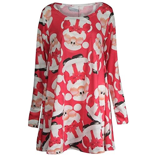 New Womens Long Sleeves Christmas Print Swing Dress Ladies Flared Dress Top