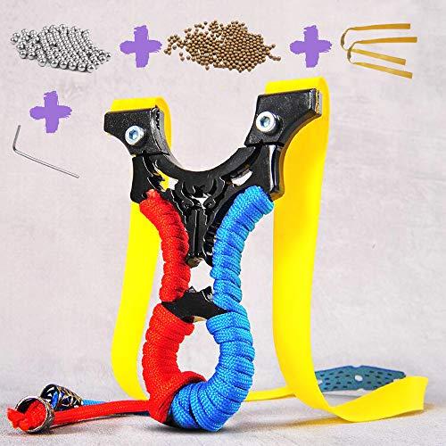 JueDi Hunting Slingshot with Ammo Balls and 3 Rubber Bands Professional Slingshot Set Velocity Catapult for Children Kids Adult