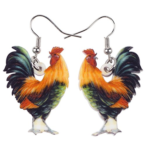 Acrylic Drop Cock Rooster Chicken Earrings Funny Design Lovely Gift For Girl Women By The Bonsny