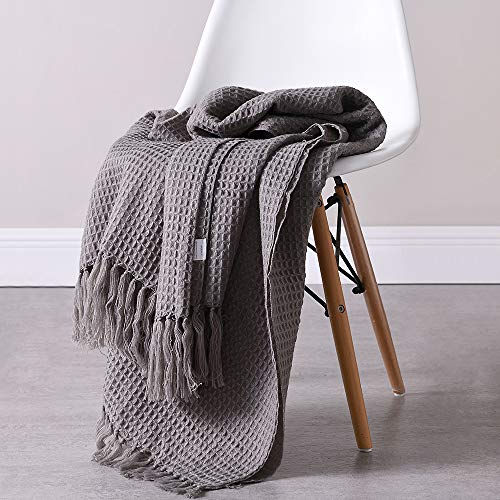 "Desirable Life Soft Knitted Warm Throw Blanket Tassel Bed Couch Sofa Blanket Decorative Fringe Waffle Weave Pattern for Home Office (51"" x 63"", Gray)"