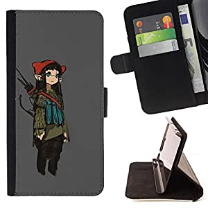 For HTC One M8 Girl Fairy Anime Ears Long Art Japanese Leather Foilo Wallet Cover Case with Magnetic Closure